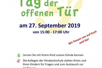 Tag der offenen Tür am 27.09.2019 von 15.00-17.00 Uhr